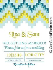 ouderwetse , trouwfeest, -, vector, uitnodiging, plakboek, ontwerp