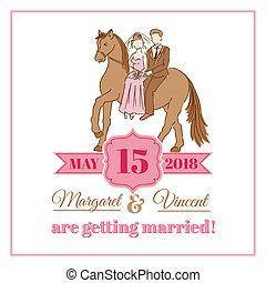 ouderwetse , trouwfeest, -, vector, uitnodiging, plakboek, ontwerp, kaart