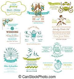 ouderwetse , trouwfeest, -, verzameling, vector, uitnodiging, plakboek, ontwerp