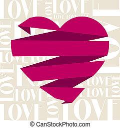 ouderwetse , valentines, card., groet, dag