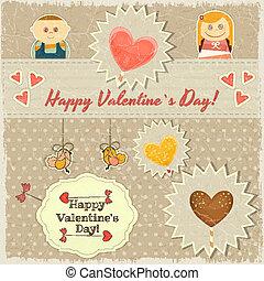 ouderwetse , valentines, zoet, hartjes, dag, kaart