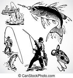 ouderwetse , vector, visserij, grafiek