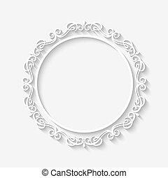 ouderwetse , witte , vector, grens, frame