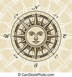 ouderwetse , zon, roos, kompas