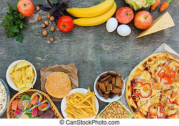 ouwe rommel, houten, kies, achtergrond., voedingsmiddelen, of, oud, bovenzijde, voeding, gezonde , eating., fastfood, correct, concept, overzicht.