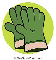 paar, handschoenen, tuinieren, groene, hand