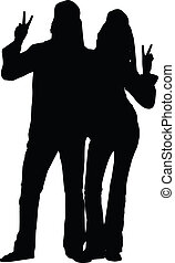 paar, silhouette, hippie