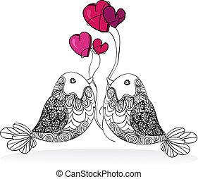 paar, valentijn, liefde, vrijstaand, vogel