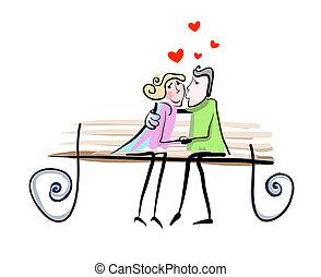 paar, vector, liefde