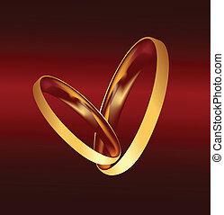 paar, vector, ringen, goud, trouwfeest