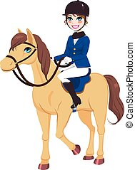 paarde, jockey, meisje, ruiter