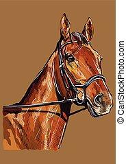 paarde, tekening, vector, verticaal, 22, hand