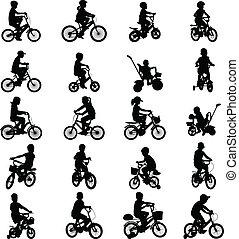 paardrijden, bicycles, kinderen