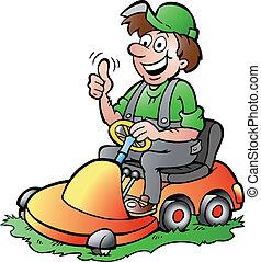 paardrijden, zijn, tuinman, lawnmower