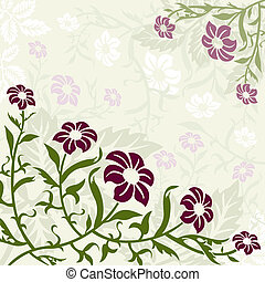 paarse , floral, groene achtergrond