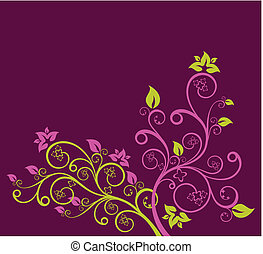 paarse , floral, vector, groene, illustratie