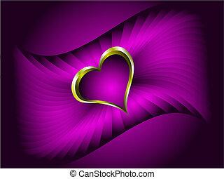 paarse , hartjes, valentines, achtergrond, goud