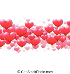 paarse , valentines, verspreid, hartjes, dag, kaart