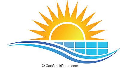 paneel, zon, vector, zonne, logo