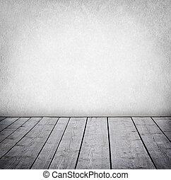 paneled, grunge, muur, vloer, room., hout, interieur