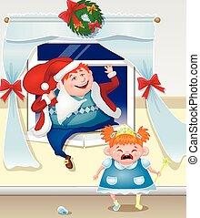 papa, dochter, roodharig, beklimmingen, geklede, dronken, venster, kerstman, gifts., crying., uit