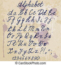 papier, alfabet, blots, oud, hand-scheefv