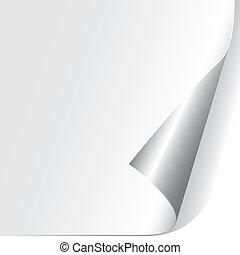 papier, gekrulde, hoek, (vector)