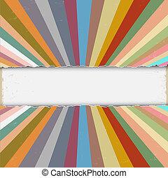 papier, gescheurd, stralen, retro, kleurrijke
