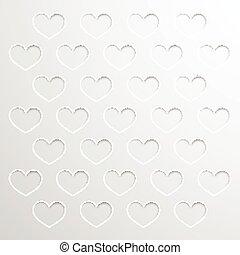 papier, hartjes, achtergrond, abstract