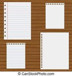 papier, houten, achtergrond, aantekenboekje