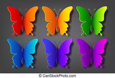 papier kleurde, schaduw, vlinder, vector
