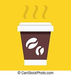 papier kop, pictogram, vector, koffie