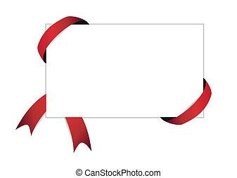 papier, rood, leeg, witte , schaduw, lint