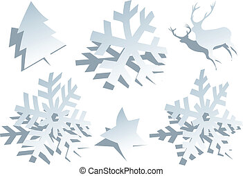 papier, snowflakes, vector