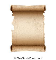 papier, vector, boekrol, oud