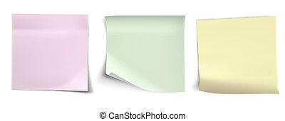 papier, witte achtergrond, stickers