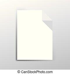papier, witte , vector, sheet., illustratie