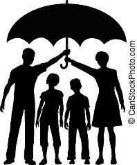 paraplu, verantwoordelijkheid, gezin, ouders, vasthouden, veiligheid, verzekering