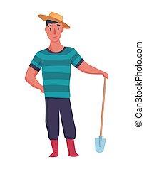particulier, of, tuinman, landbouw, vrolijke , farmer, karakter, schop, illustration., man, witte , boerderij, ontwerp, achtergrond., spotprent, hand, concept, element