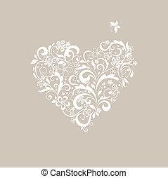 pastel, vorm, begroetende kaart, hart