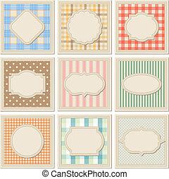 patterned, ouderwetse , set., voorbeelden, kaart