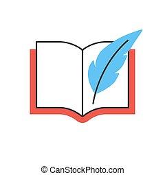 pen, boek, lijn, pictogram, veer