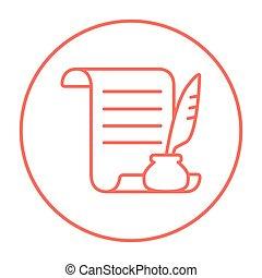 pen, papier, icon., lijn, veer, boekrol