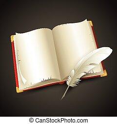 pen., vector, oud, boek, illustratie