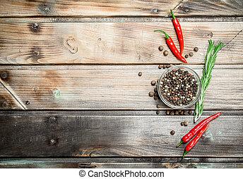 peper, pepper., kom, erwtjes, glas, black , fris, rood