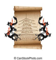 perkament, oud, boekrol, draken, pagoda