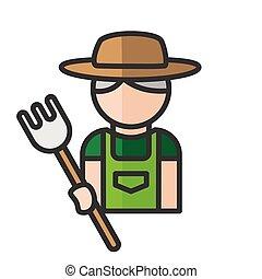 person., vector, mensen, profiel, gebruiker, illustratie, man, icon., tuinman, avatar., garden., mannelijke , werkende