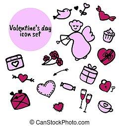 pictogram, collection., dag, valentijn, getrokken, s, set, hand