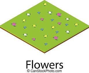 pictogram, isometric, bloem, stijl