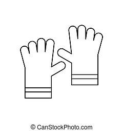 pictogram, stijl, handschoenen, tuin, schets